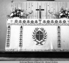 Moose hide and beadwork altar, Fort Yukon. :: Anchorage Museum at Rasmuson Center
