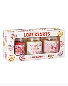 Set of 3 Love Hearts jar candles. Each has a burn time of up to 25 hours. Candle Jars, Candle Holders, Beats Pill, Mirrored Coffee Tables, Love Time, Coffee Table With Storage, Quilt Bedding, Saved Items, Wax Melts