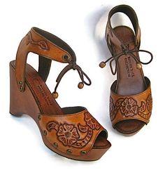 Clog Shoes Boho Heels Tooled Flower Bohemian Wedge by karenkell, $348.00, women's vintage hippie boho footwear