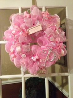 PERSONALIZED  deco mesh BABY GIRL wreath by sayitwithawreathcom, $90.00