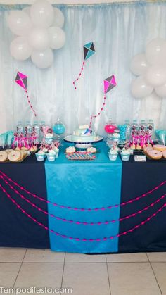 Kites Birthday Party Ideas | Photo 5 of 30 Princess Birthday, Girl Birthday, Kite Decoration, Kite Party, Rodeo Party, Baptism Party, Backdrops For Parties, Craft Party, 1st Birthday Parties