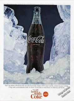 Coke Coca-cola Surrounded By Ice Jack Daniels, Coke Ad, Always Coca Cola, Vintage Coke, Harley Davidson, Dr Pepper, Buy Weed, Vintage Advertisements, Beer Bottle