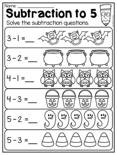 Halloween Subtraction Worksheet for Kindergarten. Subtraction to 5. This Kindergarten Halloween Worksheet Pack features 44 NO PREP worksheets. The pack includes both Math and Literacy worksheets which are perfect for the month of October. There are so many diverse activities relating to beginning sounds, ending sounds, short vowels, CVC words, alphabet work, syllables, rhyming, number order, counting, addition, subtraction, place value, shapes, word problems and so much more!!