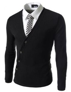 TheLees Mens Slim Fit Unbalanced Button Knit Cardigan