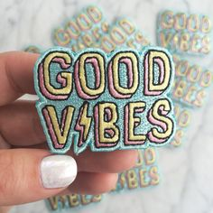 Good Vibes Patch - Iron On, Embroidered Applique – Chill - Summer