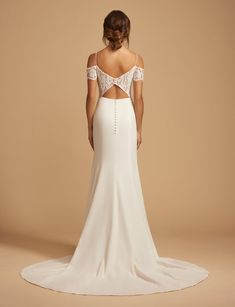 Style 7858 Channing Ti Adora by Allison Webb bridal gown - Ivory lace and crepe soft a-line bridal gown. Sweetheart neckline with spaghetti straps and off-the- shoulder lace sleeves. Peek-a- boo keyhole back with button detailing. Lace Wedding Dress, Wedding Dresses With Straps, Sweetheart Wedding Dress, Country Wedding Dresses, Wedding Dresses Plus Size, Best Wedding Dresses, Lace Dress, Mermaid Wedding, Tulle Wedding