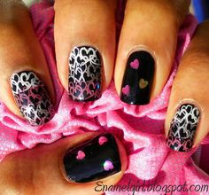 Konad - white and pink  Sally Hansen - silver sweep  Klean Color - hearts  Image plate - M73