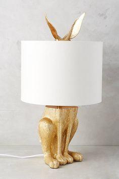 Anthropologie Gilded Hare Lamp Ensemble