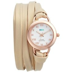 Women's La Mer Collections Saturn Wrap Leather Strap Watch, 25Mm (1.119.470 IDR) ❤ liked on Polyvore featuring jewelry, watches, leather-strap watches, wrap watches, wrap watch, leather wrap watches and leather wrist watch
