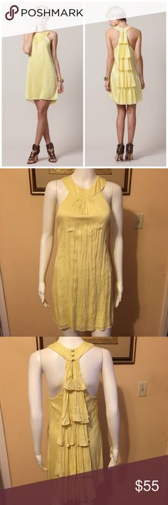 """Alice + Olivia Katlyn Waterfall Ruffle Back Dress Open for reasonable offer. The item that you are about to purchase is an Alice + Olivia Katlyn Ruffle Back Dress. Size XS. Color is light yellow.  Color is a little faded due to wash (please take note of that to avoid unnecessary return) but the this dress itself is in a great shape. To make an offer, please use """"offer"""" Button. Thank you! Alice + Olivia Dresses"""