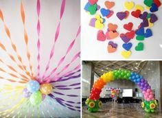decoration-anniversaire-enfant-arc-en-ciel-ballons-guirlandes-coeurs-multicolores décoration anniversaire enfant