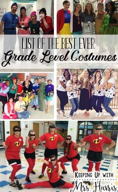 List of Best Ever Grade Level Costumes - Keeping Up with Mrs. Harris List of Best Ever Grade Level Costumes - Great ideas for Book Character Day, Spirit Week, Red Ribbon dress up week, and more! Halloween Clown, Halloween Costumes For Work, Hallowen Costume, Halloween Books, Halloween Party, Homemade Halloween, Halloween Halloween, Halloween Camping, Halloween Couples