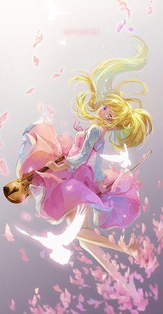 Tags: Anime, Gato Princesa, Shigatsu wa Kimi no uso, Miyazono Kaori, borrosas, pelo flotante, rodillas desnudas