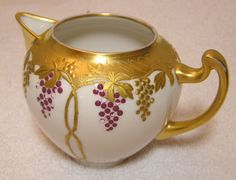 Details about Pickard China Cream Pitcher Gold & Grapes Hand Painted
