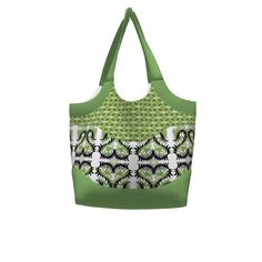 Betz White Smile & Wave Tote made with Spoonflower designs on Sprout Patterns. This large smile and wave tote uses Sewindigo's Kangaroo In The Bush Hearts for the exterior pocket, Karenspix's abstract geometric (KRLGFabricPattern_92E) for the body and solid green trim.