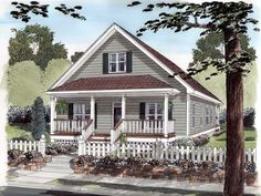 Elevation of Cottage Narrow Lot Traditional Vacation House Plan 74001