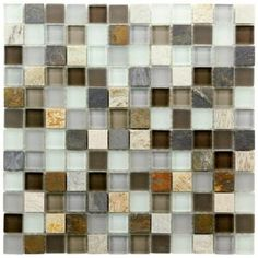 Merola Tile, Tessera Square Tundra 11-3/4 in. x 11-3/4 in. x 8 mm Glass and Stone Mosaic Wall Tile, GITTSQTU at The Home Depot - Mobile