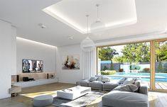Projekt domu Viking 4 156,9 m2 - koszt budowy 225 tys. zł - EXTRADOM Vikings, Windows, Ceiling Lights, Architecture, Outdoor Decor, Projects, Furniture, Home Decor, Modern Houses
