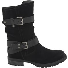 Right on trend, with its big, bold leather straps and burnished hardware, it's a statement boot that makes the outfit.