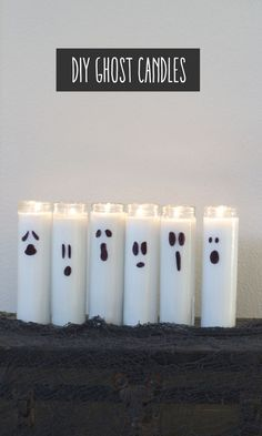 DIY halloween decorations :: Ghost Candles Looking for a cool, simple, inexpensive, Halloween idea? These DIY ghost candles are your ticket. 50 Diy Halloween Decorations, Diy Halloween Dekoration, Hallowen Ideas, Halloween Crafts, Fall Decorations, Samhain Decorations, Dollar Tree Halloween Decor, Halloween Fabric, Dollar Store Halloween