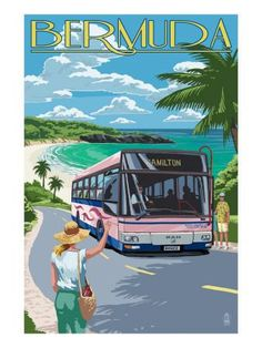 Bermuda - Pink Bus on Coastline Art Print by Lantern Press at Art.com