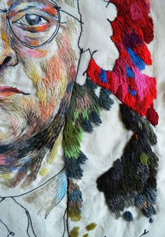 Hand Work Embroidery, Creative Embroidery, Embroidery Stitches, Embroidery Ideas, Textile Artists, Face Art, Portrait, Illustration Art, Weaving