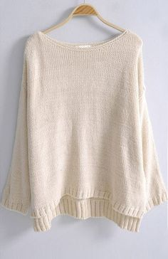 Beige Batwing Long Sleeve Loose Pullovers Sweater