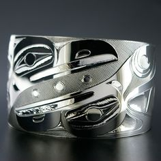 Gerry Marks, Sterling Silver Bracelet, Ravens, Northwest Coast Native Art
