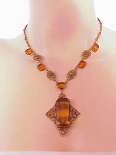 1920s Czechoslovakian Amber Crystal enameled Pendant Necklace by Theincensewoman