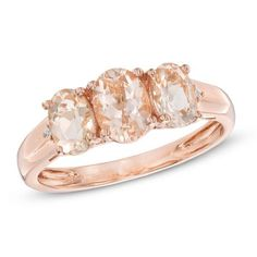 #BFCM #CyberMonday #Zales - #Zales Oval Morganite and Diamond Accent Three Stone Ring in 10K Rose Gold - AdoreWe.com