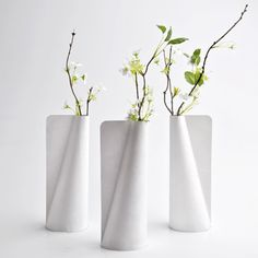 This vase by Rhode Island School of Design graduate Jiwon Choi is made of Tyvek, a lightweight and tear-resistant material produced from plastic fibres.
