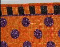 "Halloween Dot and Stripe Ribbon: Orange/Purp/Blk - 2.5"" x 10Yds"