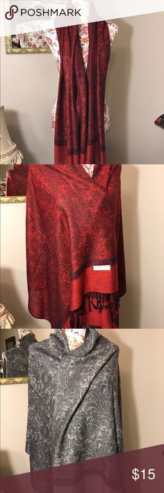 "PASHMINA SHAWL 76""X28""70% PASHMINA 30% SILK $14.99 WOMEN SILK SCARVES SQUARE 33""X33"" materials 100 % silk Made in chine new with tag Color black red grey original price 40.00 now $15.00 pashmina Accessories Scarves & Wraps"