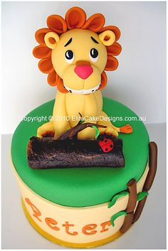 Lion Safari Boys' Birthday Cake exclusively designed by EliteCakeDesigns! Visit our exclusive Birthday Cake design gallery to witness the quality of our cake designs. Safari Birthday Cakes, Lion Birthday, Cake Birthday, Jungle Cake, Jungle Party, Safari Party, Safari Theme, Birth Cakes, Lion Cakes