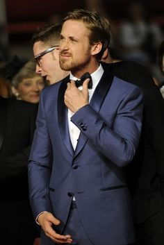 Dark Blue tuxedo? Yes. Also, yes to Ryan Gosling. And yes to that bowtie and yes to that lovely tailored suit // #MyTailorIsFree #menstyle #gentlemen #classy #business #menstyle #fashion #gq #custommade #menstyle #suit #italian #frenchstyle #fashionformen #menswear #suitandties #bowtie #tie #citymen #smartlook #outfit #glamour #tuxedo