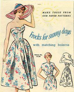 "Vintage 1950's Sewing Pattern Rockabilly Strapless Sundress & Bolero B 32"""