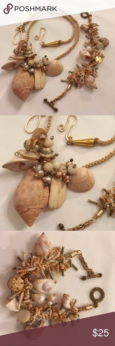 """Seashell and Corded Necklace & Bracelet Selling both items together. Pretty set. Real shells and fresh water pearls. Gently used. Please note there is some discoloration of tha cord by the clasp. It's wear the maker added glue and it darken the cord. Necklace 24"""" inches long. Bracelet 8"""" long. Boutique Jewelry Necklaces"""