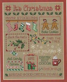 It's Christmas is the title of this cross stitch pattern from Sue Hillis Designs.