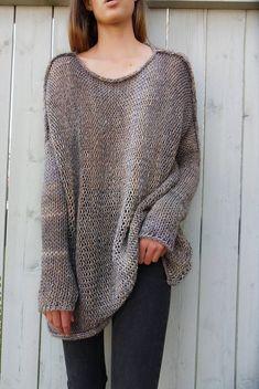 Alpaca Oversized Slouchy sweater. Chunky knit tunic. Thumb