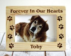 Pet memorial frame Dog picture frame wooden by CustomWoodWonders