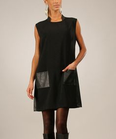 Love this Black Faux Leather Pocket Shift Dress by Eva Tralala on #zulily! #zulilyfinds