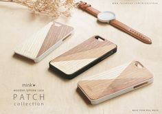 Wooden iPhone Case Patch Collection Made by REAL wood 3 Designs : P01, P02, P03 Hard case : White silicone AND Black silicone color For iPhone4,