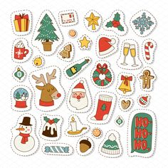 Christmas icons vector symbols by Vectorstockersland on Planner Stickers, Journal Stickers, Scrapbook Stickers, Christmas Doodles, Christmas Icons, Christmas Drawing, Vector Christmas, New Year Greeting Cards, Christmas Greeting Cards