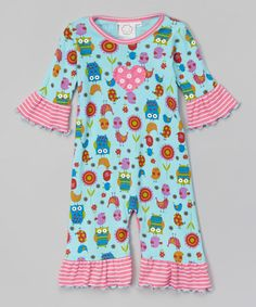 Look at this #zulilyfind! Aqua Owl Ruffle Playsuit - Infant #zulilyfinds