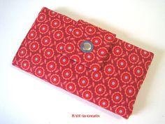 """Portemonnaie, Geldbörse """"Flowers"""" - rot-hellblau von © MABE la Creativ  auf DaWanda.com"""