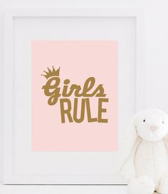Girls Rule Print $15 www.bymaria.com #girlsbedroomideas #girlsnursery