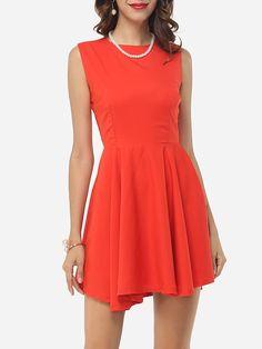 #Fashionmia - #Fashionmia Plain Asymmetrical Hems Chic Crew Neck Skater-dress - AdoreWe.com