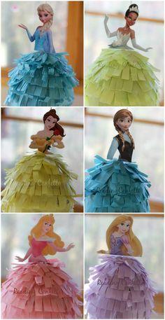 DIY princess pinatas..ideales para centros de mesa...