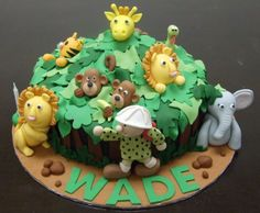 The cutest Jungle cake!! Great for baby shower or 1st Birthday!