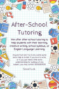 After-school language and math tutoring flyer template After School Help, After School Tutoring, Tutoring Flyer, Tutoring Business, Online Tutoring, Science Tutor, Math Tutor, Flyer Free, Free Flyer Templates
